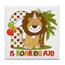 Cute Lion 2nd Birthday Tile Coaster