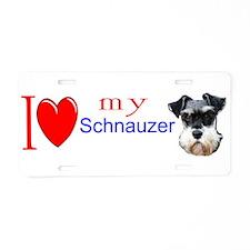Cute Schnauzer dog Aluminum License Plate