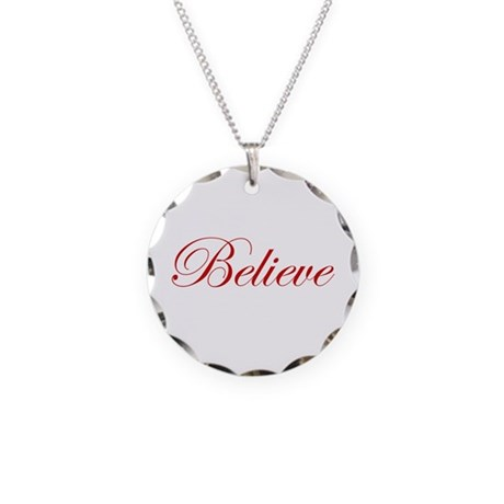 Red Believe Necklace Circle Charm