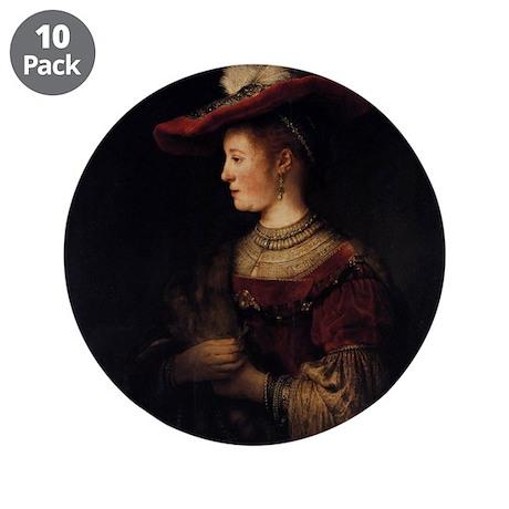 """Saskia in a Pompous Dress 3.5"""" Button (10 pack)"""