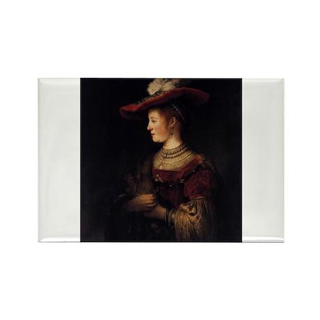 Saskia in a Pompous Dress Rectangle Magnet (100 pa