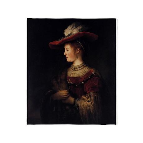 Saskia in a Pompous Dress Throw Blanket