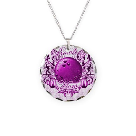 Bowling Mom (Pink) Necklace Circle Charm