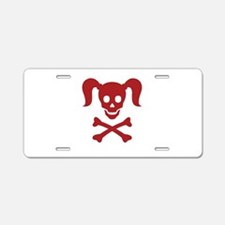 Curly Girlie Skull Aluminum License Plate