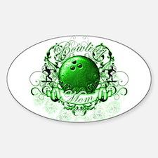 Bowling Mom (Green) Sticker (Oval)