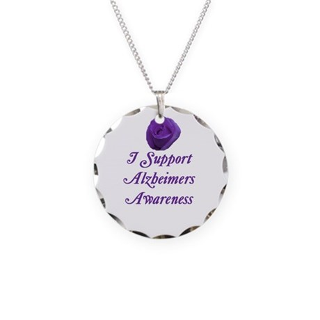 Alzheimers Necklace Circle Charm Round