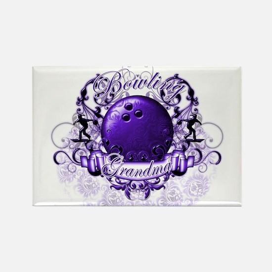 Bowling Grandma (Purple) Rectangle Magnet