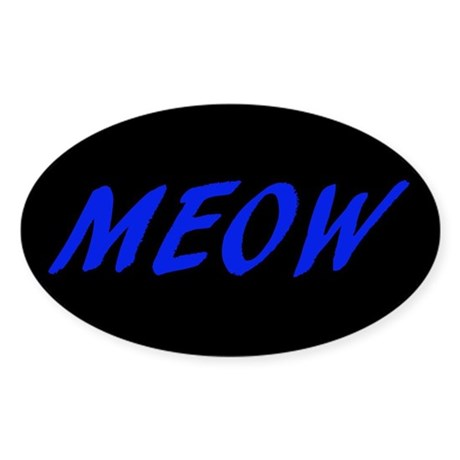 MEOW - Blue (Oval Sticker)