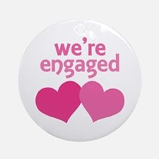 We're Engaged Pink Hearts Ornament (Round)