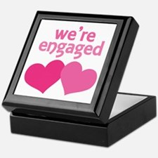We're Engaged Pink Hearts Keepsake Box