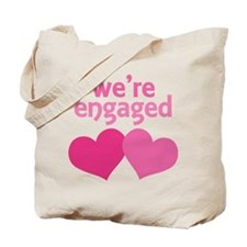 Pink Heart We're Engaged Tote Bag