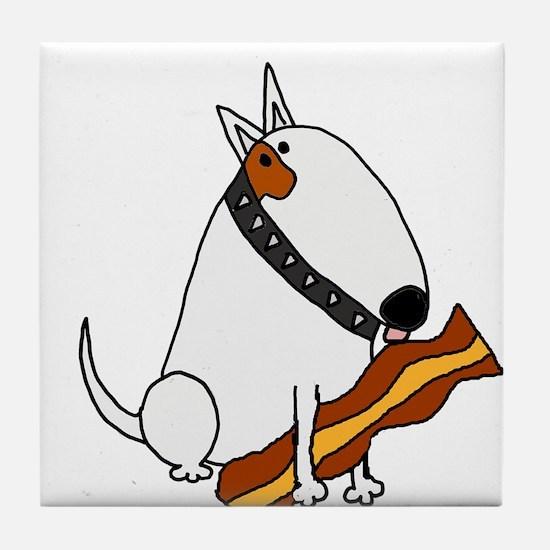 Bull Terrier with Bacon Tile Coaster