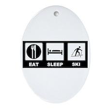 Eat Sleep Ski Ornament (Oval)
