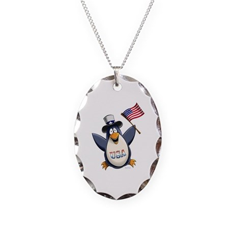 American Penguin Necklace Oval Charm