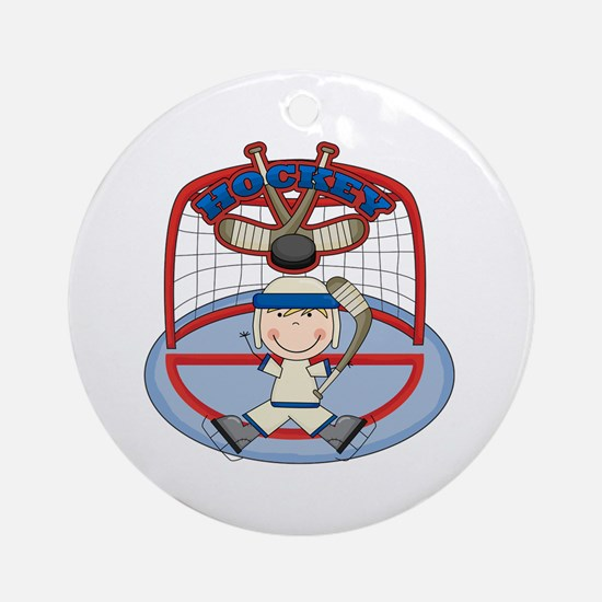 Stick Figure Hockey Goalie Ornament (Round)