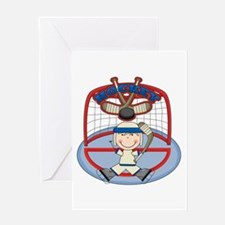 Stick Figure Hockey Goalie Greeting Card
