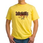 Snowmobile Girl Skull Yellow T-Shirt