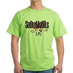 Snowmobile Girl Skull Green T-Shirt