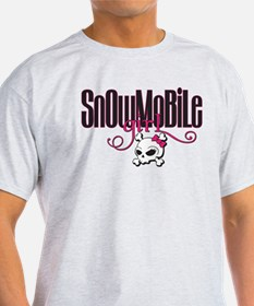 Snowmobile Girl Skull T-Shirt