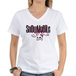 Snowmobile Girl Skull Women's V-Neck T-Shirt