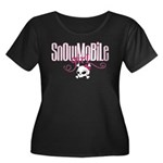 Snowmobile Girl Skull Women's Plus Size Scoop Neck