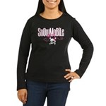 Snowmobile Girl Skull Women's Long Sleeve Dark T-S