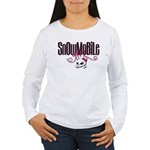 Snowmobile Girl Skull Women's Long Sleeve T-Shirt