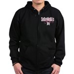 Snowmobile Girl Skull Zip Hoodie (dark)