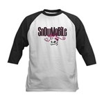 Snowmobile Girl Skull Kids Baseball Jersey
