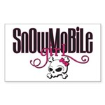 Snowmobile Girl Skull Sticker (Rectangle)