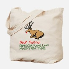 Dear Santa Shot Reindeer Pran Tote Bag