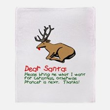 Dear Santa Shot Reindeer Pran Throw Blanket