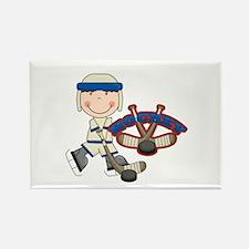 Boy Hockey Player Rectangle Magnet
