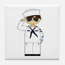 Saluting US Navy Officer Tile Coaster