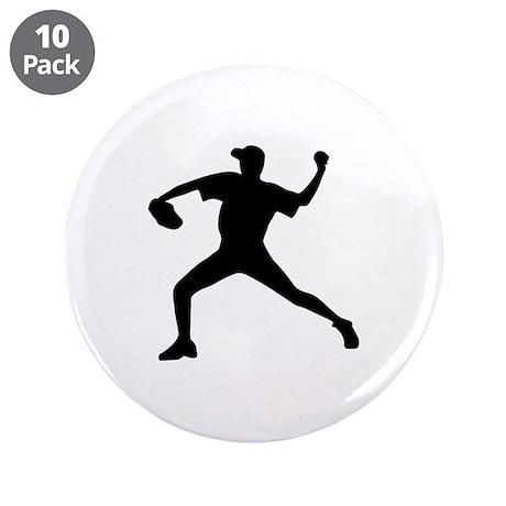 """Baseball - Pitcher 3.5"""" Button (10 pack)"""