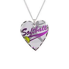 Girls Softball Necklace Heart Charm