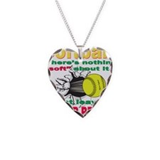 Girls Softball Necklace Heart Charm