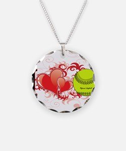 I love softball Necklace Circle Charm