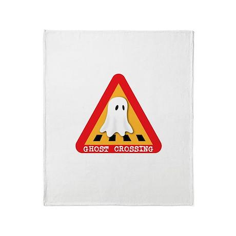 Cute Ghost Crossing Sign Throw Blanket