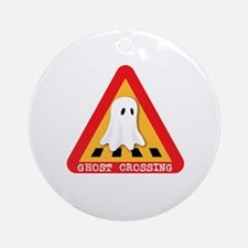 Cute Ghost Crossing Sign Ornament (Round)