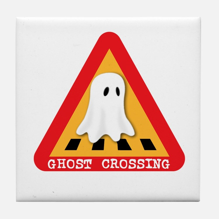 Cute Ghost Crossing Sign Tile Coaster