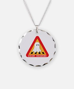 Cute Ghost Crossing Sign Necklace