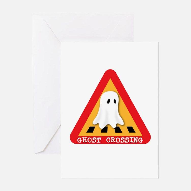 Cute Ghost Crossing Sign Greeting Card