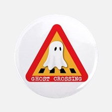 """Cute Ghost Crossing Sign 3.5"""" Button"""