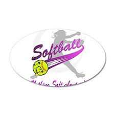 Girls Softball 38.5 x 24.5 Oval Wall Peel