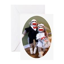 Sock Monkey Wedding Greeting Card