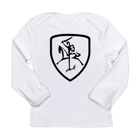 Black and White Vytis Long Sleeve Infant T-Shirt