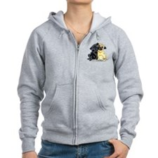 Black Fawn Pug Zip Hoodie
