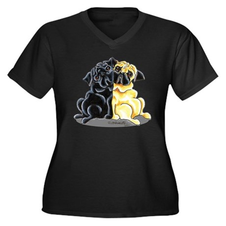 Black Fawn Pug Women's Plus Size V-Neck Dark T-Shi