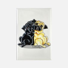 Black Fawn Pug Rectangle Magnet
